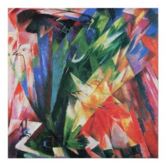 Birds (Vogel) by Franz Marc, Vintage Cubism Art Poster