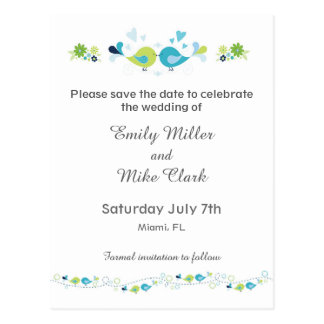 Birds Weddings Save The Date Card Floral Postcard