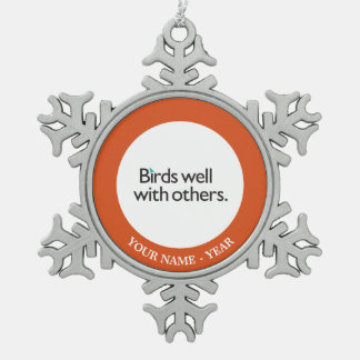 Birds Well with Others Pewter Snowflake Decoration