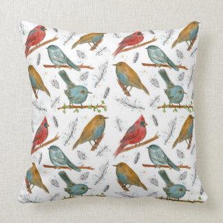 Birds Wildlife Ink Watercolor Illustrations Cushion