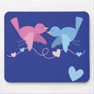 Birds with a bunting of love mouse pad