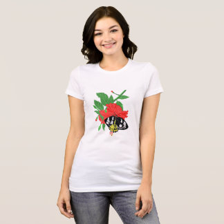 Birdwing Butterfly and Hibiscus Flower T-Shirt