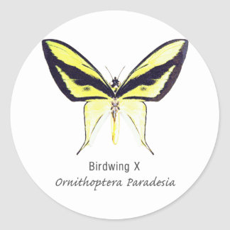 Birdwing X Butterfly with Name Round Sticker