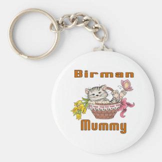 Birman Cat Mom Basic Round Button Key Ring