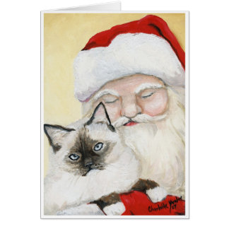 """Birman Cat & Santa"" Art  Christmas Card"