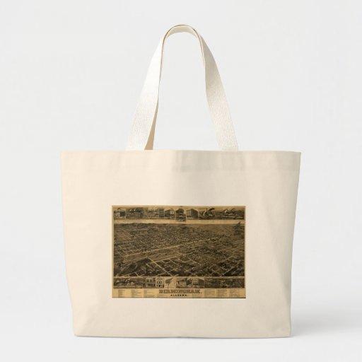 Birmingham Alabama Late 1800's Birds Eye View Tote Bag