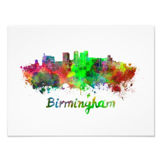 Birmingham skyline in watercolor photo print
