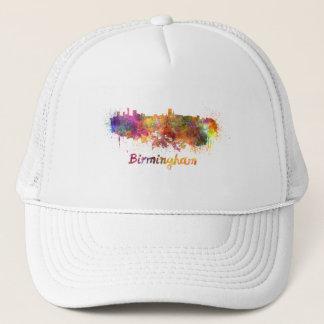 Birmingham skyline in watercolor trucker hat