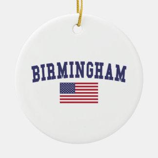 Birmingham US Flag Ceramic Ornament
