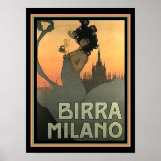 Birra Milano Art Nouveau Print 12 x 16