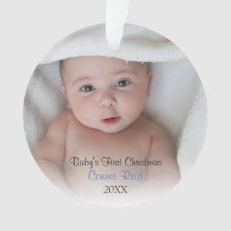 Birth Announcement   Baby Boy Photo Ornament
