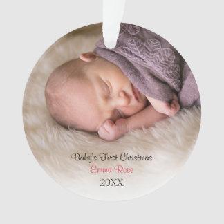 Birth Announcement   Baby Girl Photo Ornament
