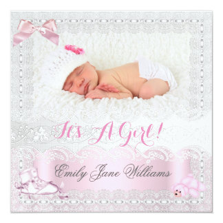 Birth Announcement Baby Girl Photo Pink 7