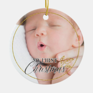 Birth Announcement First Christmas Photo Ornament