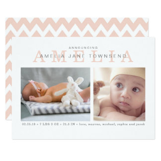 Birth Announcement Girl - Pink and Gray