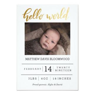 Birth Announcement Hello World Handwritten Photo