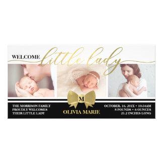 Birth Announcement, Little Lady, Faux Gold Foil Card