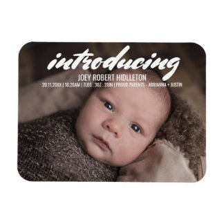 Birth Announcement Modern Typography Rectangular Photo Magnet