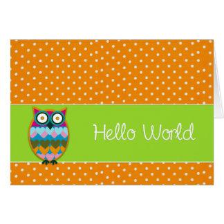 Birth Announcement OWL Polka dot Photo Greeting Card