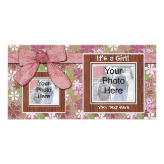 Birth Announcement, Pink Frames and Bow Photo Card