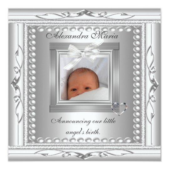 Birth Announcement Silver Photo Frame Bow