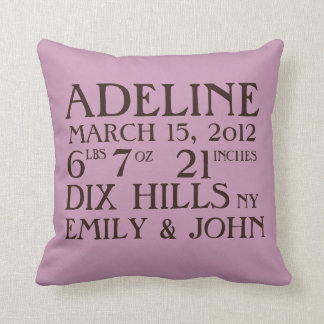 Birth Announcement Stats Lavender Pillow