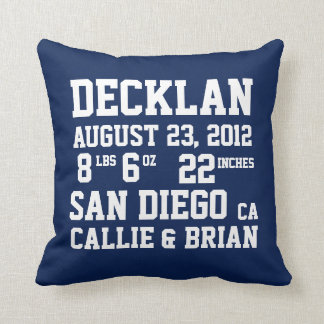 Birth Announcement Stats Navy Pillow Throw Cushions