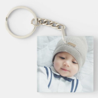 Birth Announcement with Custom Newborn Baby Photo Key Ring