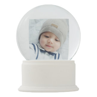 Birth Announcement with Custom Newborn Baby Photo Snow Globe