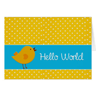 Birth Announcement Yellow Polka dot Photo Greeting Card
