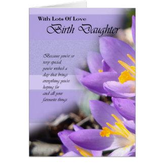 Birth Daughter purple crocus Birthday Card