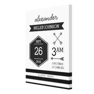 Birth Details Personalized Black White Wall Art