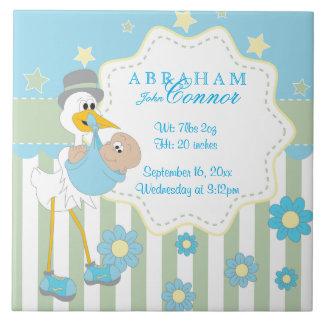 Birth Information - Blue Baby Boy Stork Large Square Tile