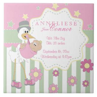 Birth Information - Pink Baby Girl Stork Large Square Tile