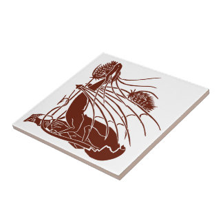 """Birth Of A Dragon"" - Deep Red - Trivet Small Square Tile"