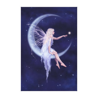 Birth of a Star Moon Fairy Stretched Canvas Print