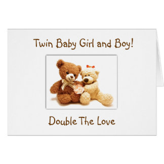 BIRTH OF **BABY GIRL AND BABY BOY TWINS** CARD