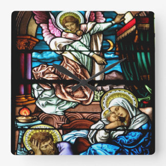 Birth of Jesus Stained Glass Window Clock
