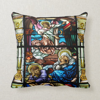 Birth of Jesus Stained Glass Window Throw Cushions