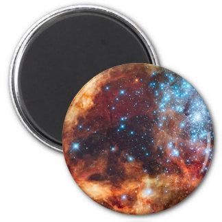Birth of Stars Cosmic Creation Nebula Blue Stars 6 Cm Round Magnet