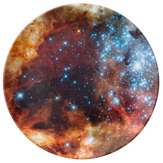 Birth of Stars Cosmic Creation Nebula Blue Stars Plate