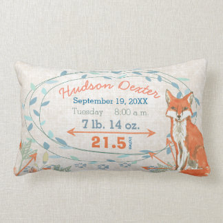 Birth Stats Baby Boy Forest Creatures Fox Lumbar Pillow