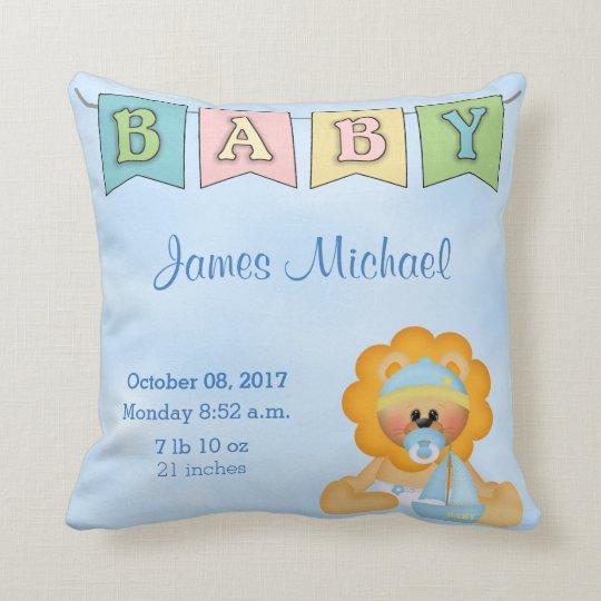 Birth Stats Baby Boy Lion Cushion