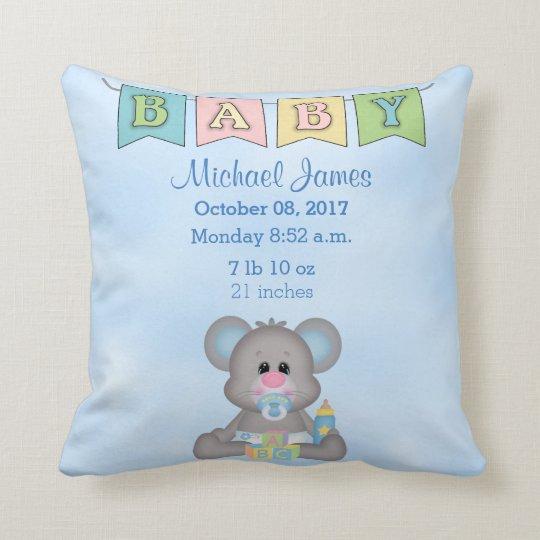 Birth Stats Baby Boy Mouse Cushion