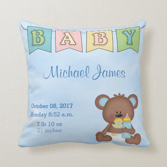 Birth Stats Baby Boy Teddy Bear Cushion