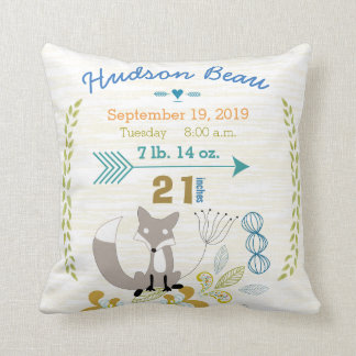 Birth Stats Baby Boy Woodland Creatures Fox Cushion