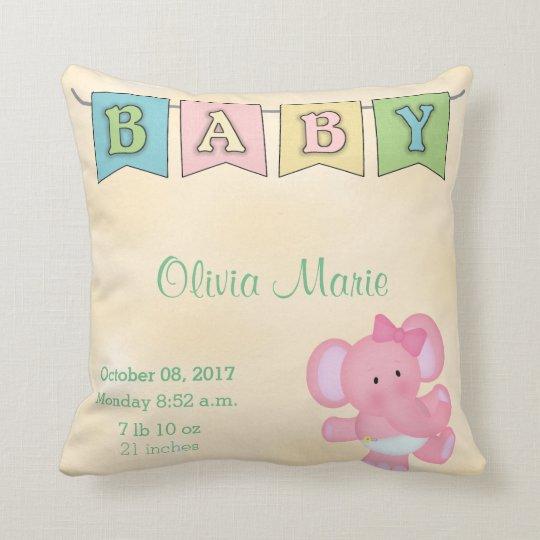 Birth Stats Baby Girl Elephant Cushion