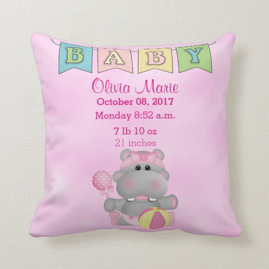 Birth Stats Baby Girl Hippo Cushion