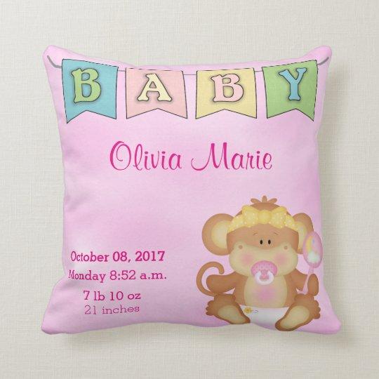 Birth Stats Baby Girl  Monkey Cushion