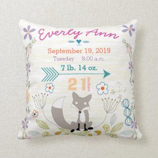 Birth Stats Baby Girl Woodland Creatures Fox Throw Cushions